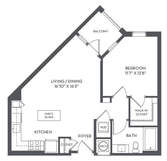 A 2D drawing of the 1-C1 floor plan