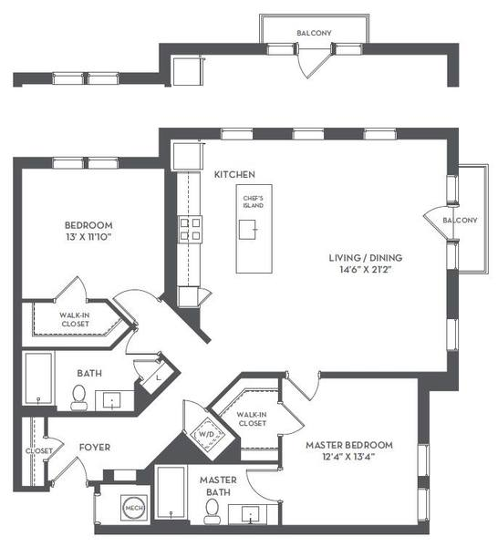 A 2D drawing of the 2-E floor plan