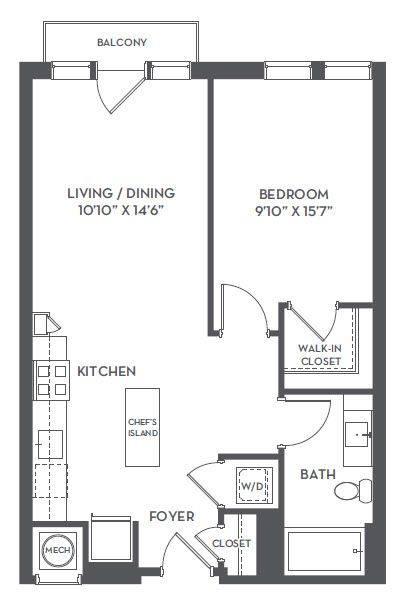 A 2D drawing of the 1-A floor plan