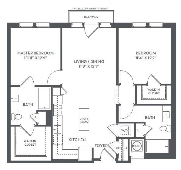 A 2D drawing of the 2-G floor plan