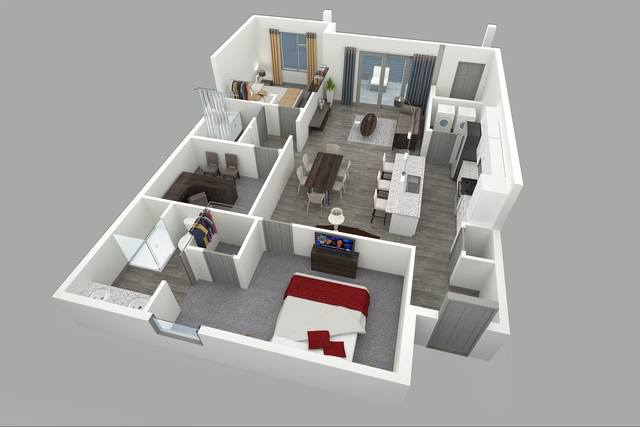A 3D rendering of the E floor plan