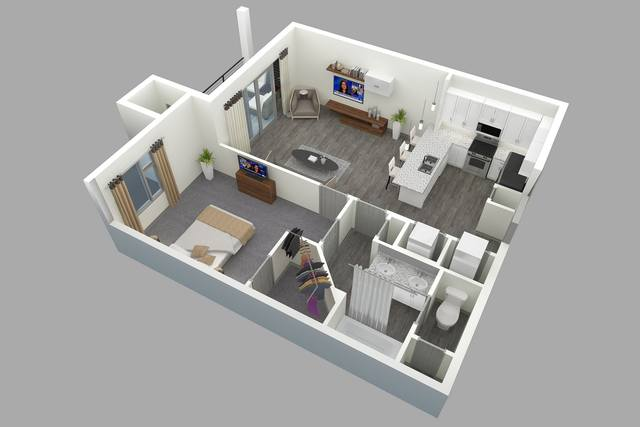 A 3D rendering of the B floor plan