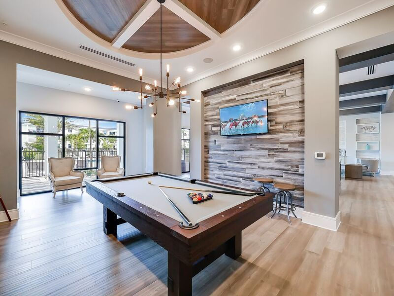 Pool table and TV