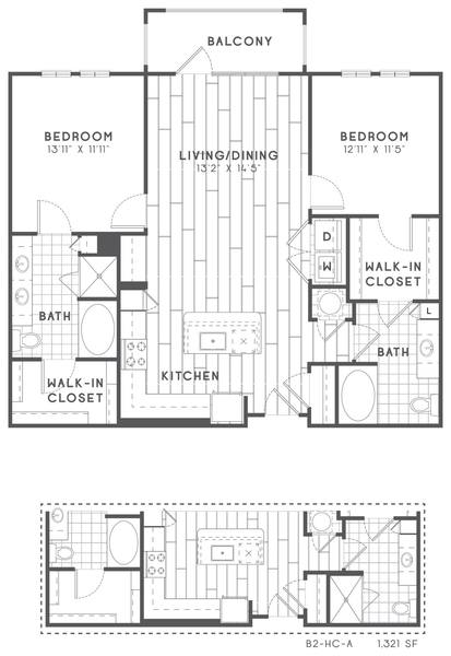 A 2D drawing of the B2 HC floor plan