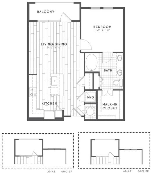 A 2D drawing of the A1-A floor plan