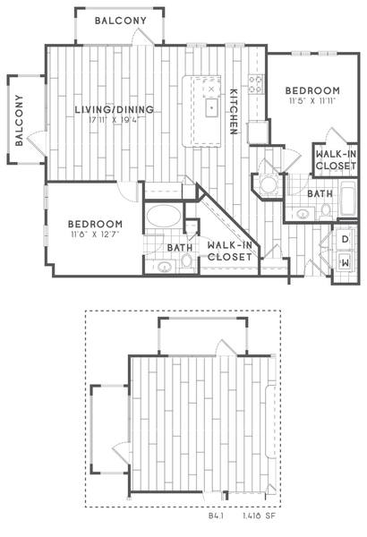 A 2D drawing of the B4 floor plan
