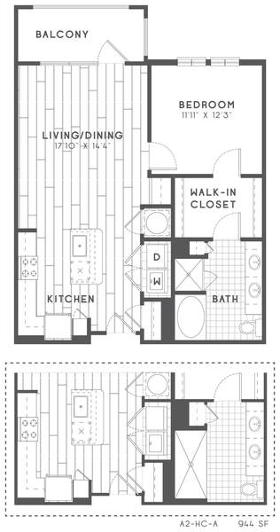 A 2D drawing of the A2 HC floor plan