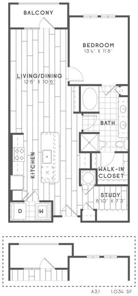 A 2D drawing of the A3 Study floor plan