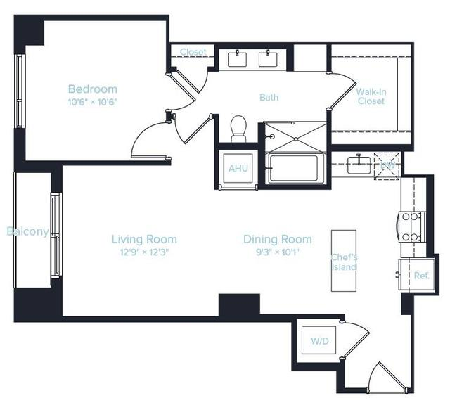 A 2D drawing of the Unit E2 floor plan