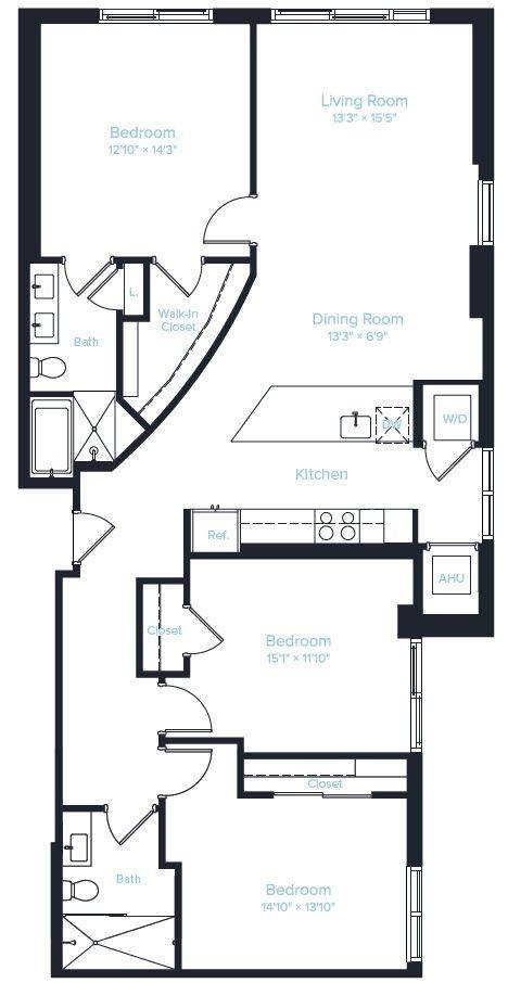 A 2D drawing of the Unit A PH floor plan