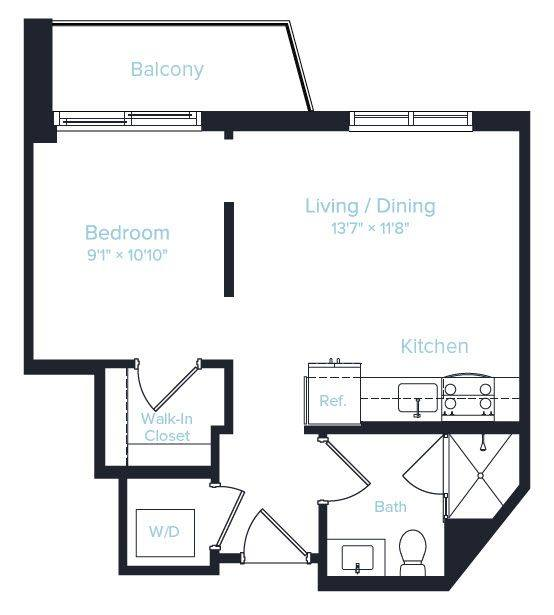 A 2D drawing of the Unit C floor plan