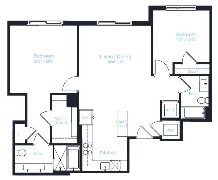A 2D drawing of the Unit F PH floor plan