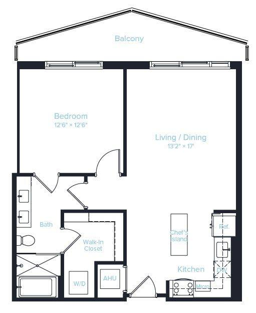 A 2D drawing of the Unit B floor plan