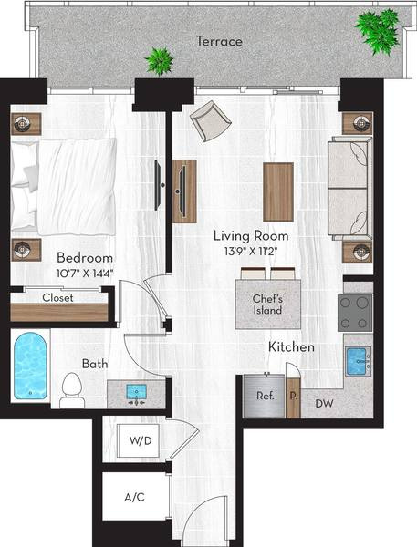 A 2D drawing of the A1 floor plan