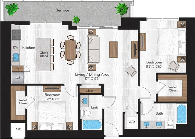 A 2D drawing of the R2 floor plan