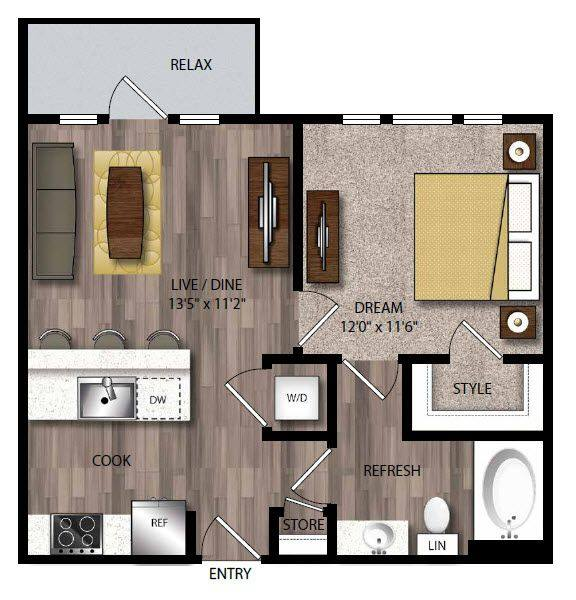 A 2D drawing of the P-A1.1 floor plan