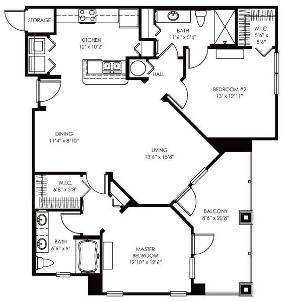 A 2D drawing of the Delano floor plan