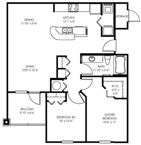 A 2D drawing of the Biscayne floor plan