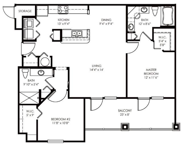 A 2D drawing of the Collins floor plan