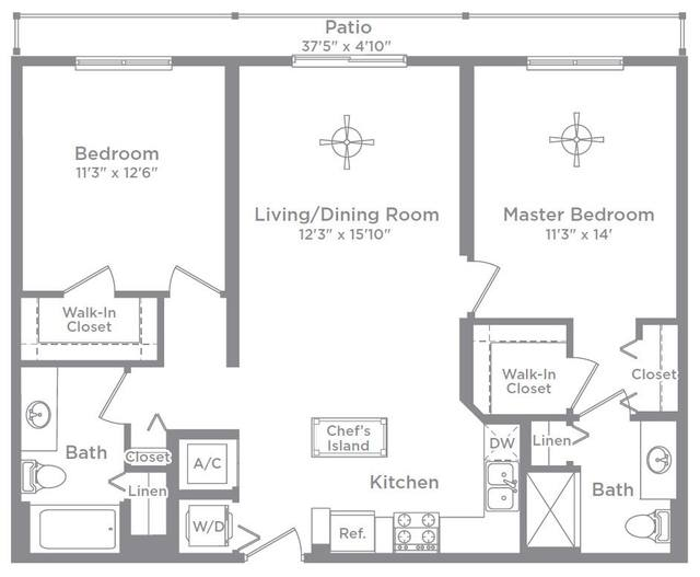 A 2D drawing of the Bordeaux 14 floor plan