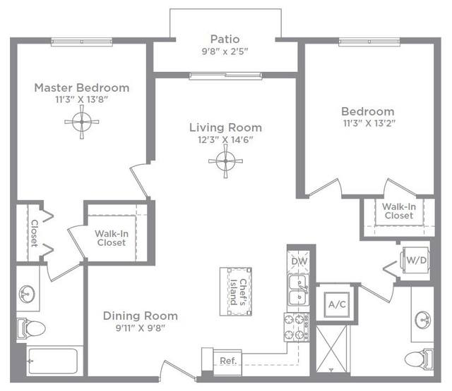 A 2D drawing of the Bordeaux 2A floor plan