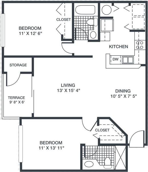 A 2D drawing of the Jasmine floor plan