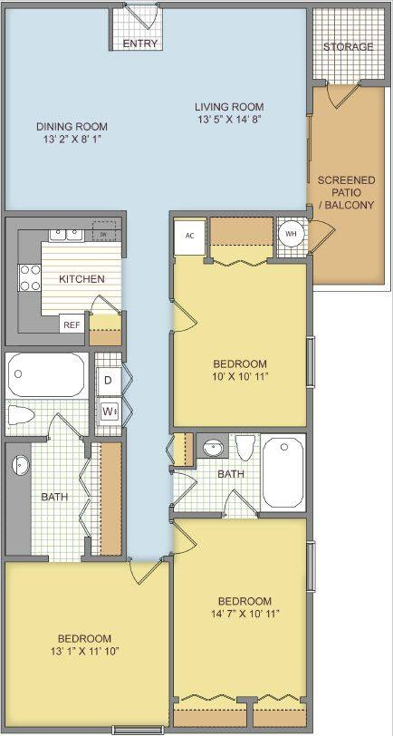 A 2D drawing of the The Triple Crown floor plan