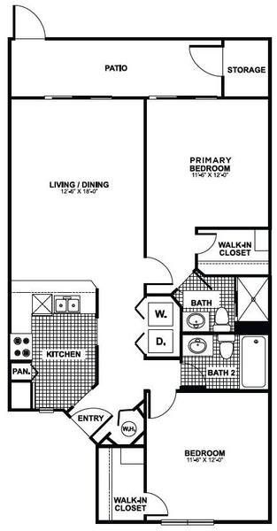 A 2D drawing of the Cattail floor plan