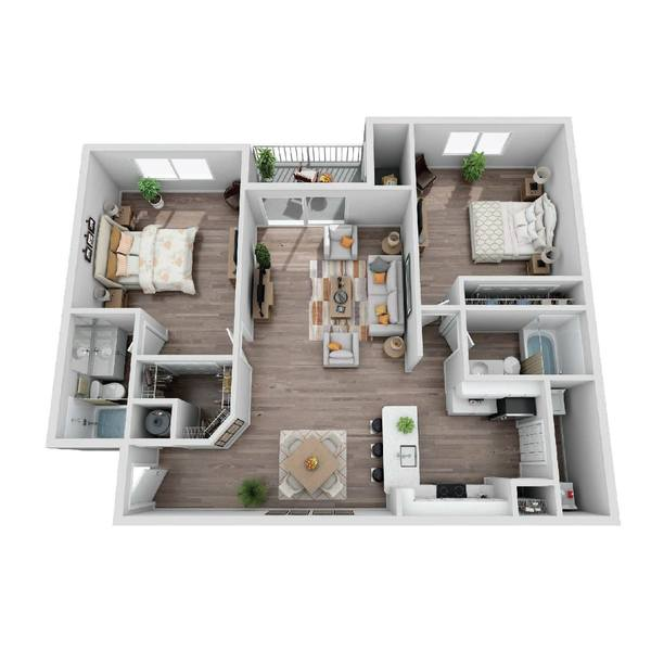 A 3D rendering of the Banyan floorplan