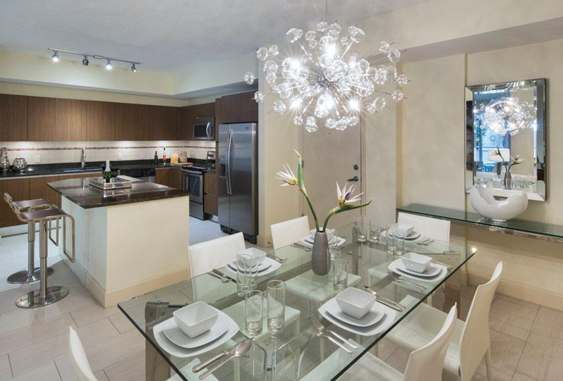 apartment dining table and kitchen