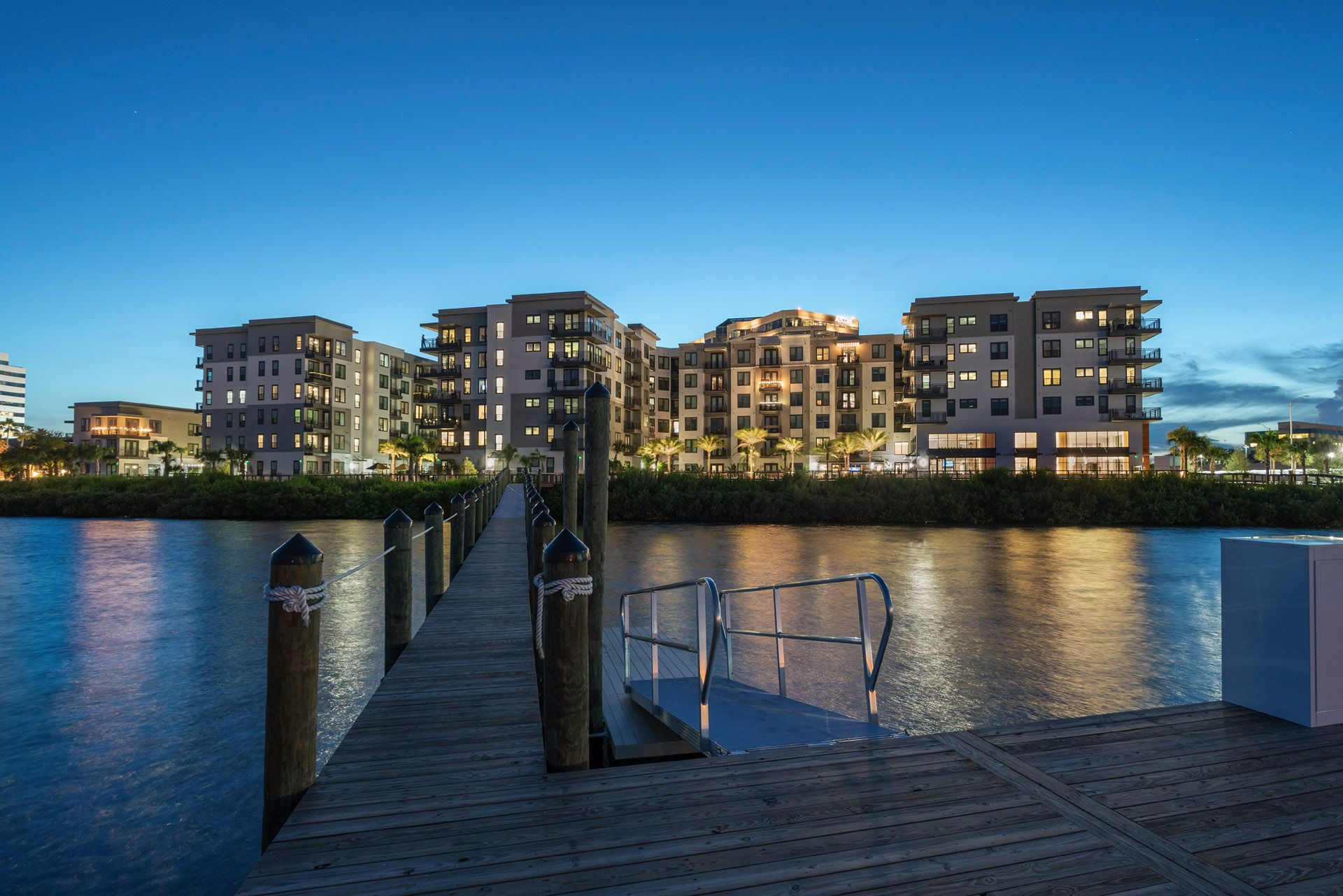 View from pier of apartment community