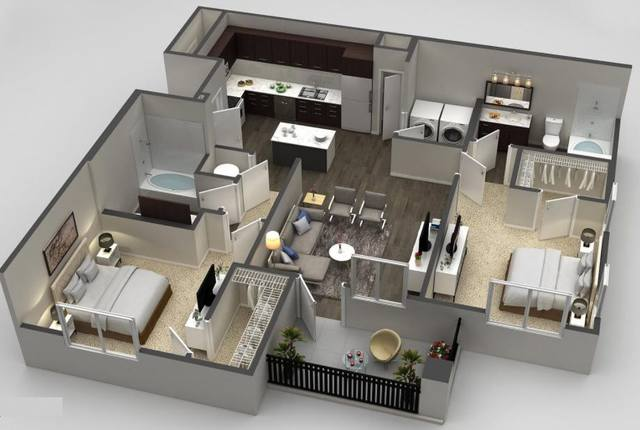 A 3D rendering of the Indigo Deluxe floor plan
