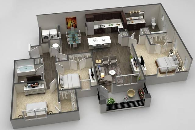 A 3D rendering of the Sapphire Deluxe floorplan