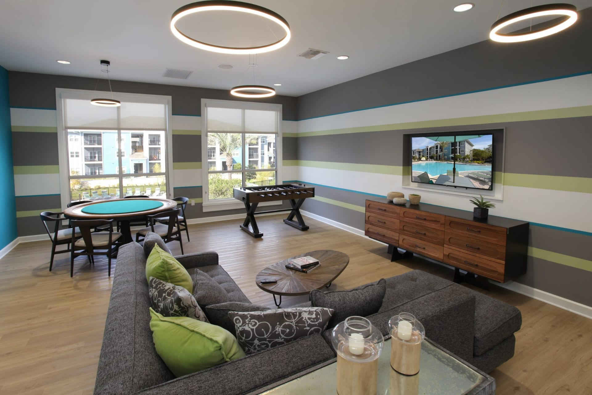 Clubhouse with gaming area and seating