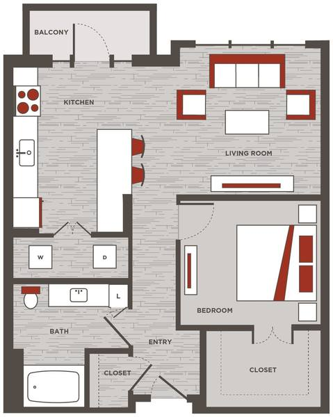 A 2D drawing of the LW.1 floor plan