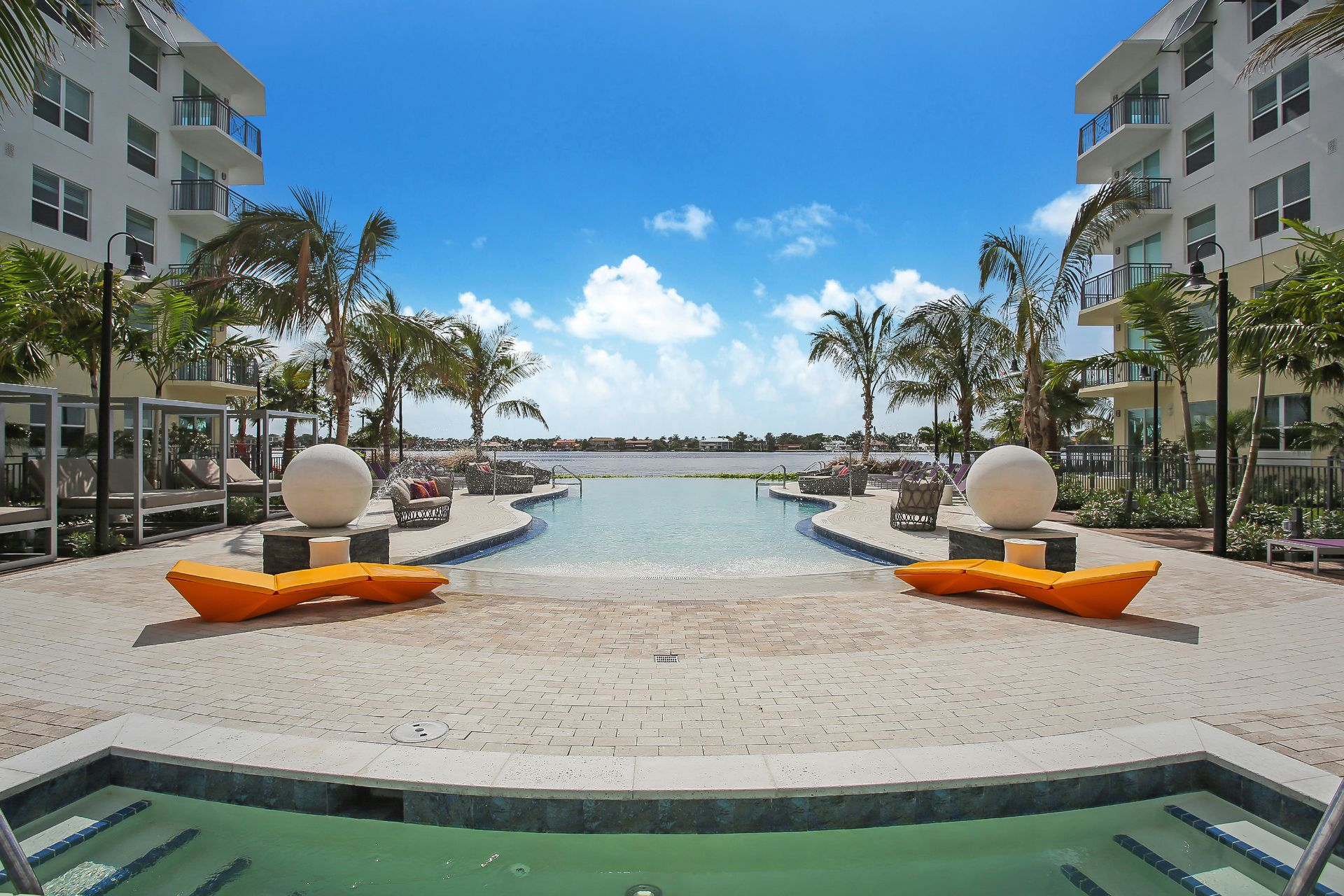 pool area and view of waterway