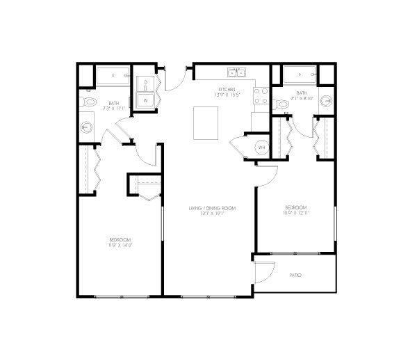 A 2D drawing of the Mizner floor plan