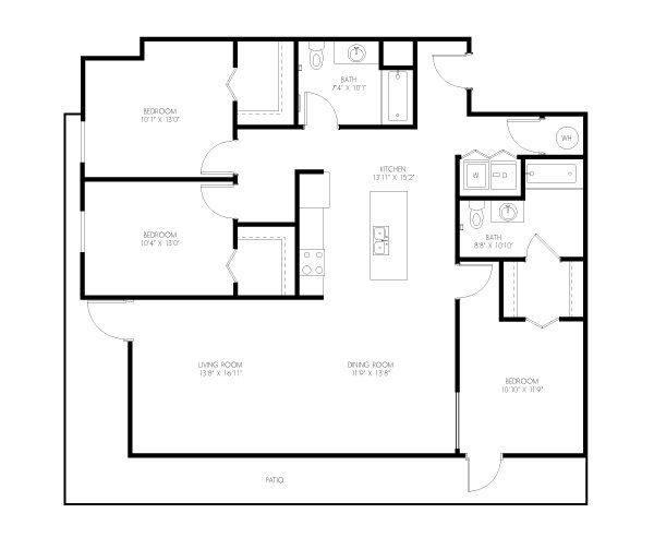 A 2D drawing of the Rawlings floor plan