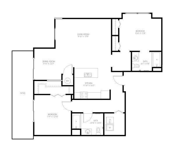 A 2D drawing of the Hurston floor plan