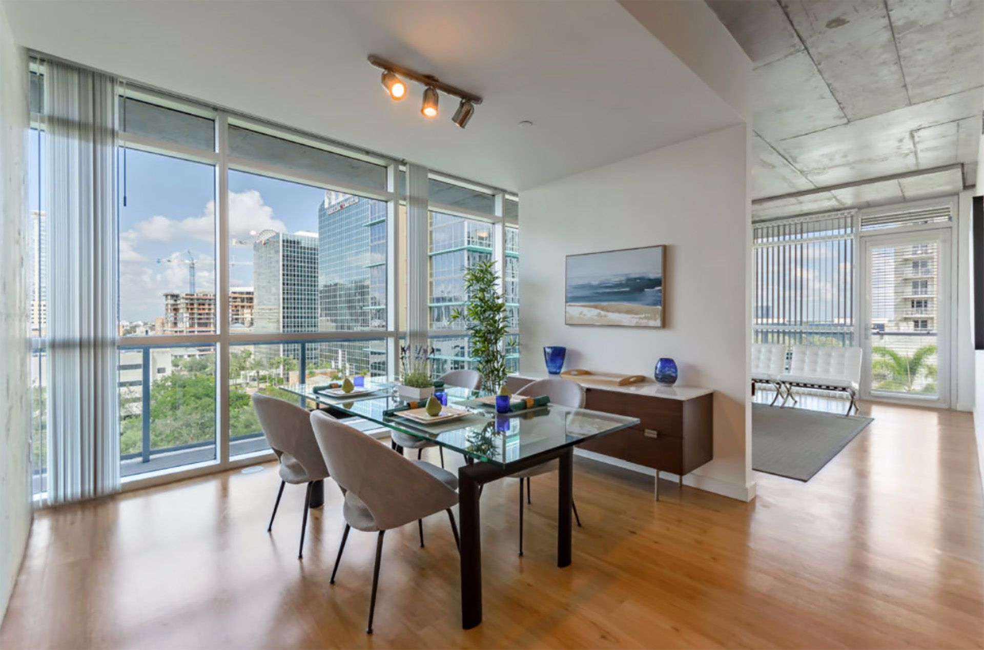 Apartment dining area with seating and table
