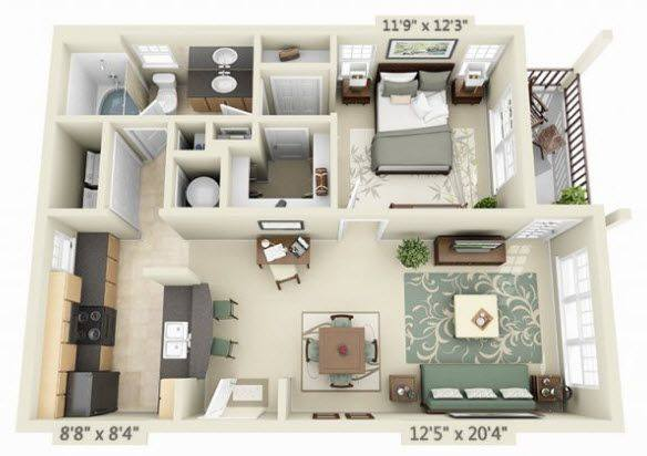 A 3D rendering of the Santa Barbara floor plan