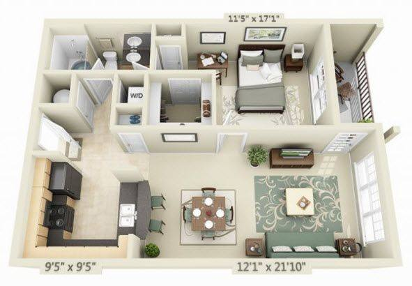 A 3D rendering of the Vallejo floor plan