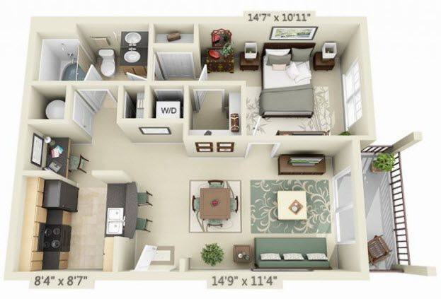 A 3D rendering of the Solano floor plan