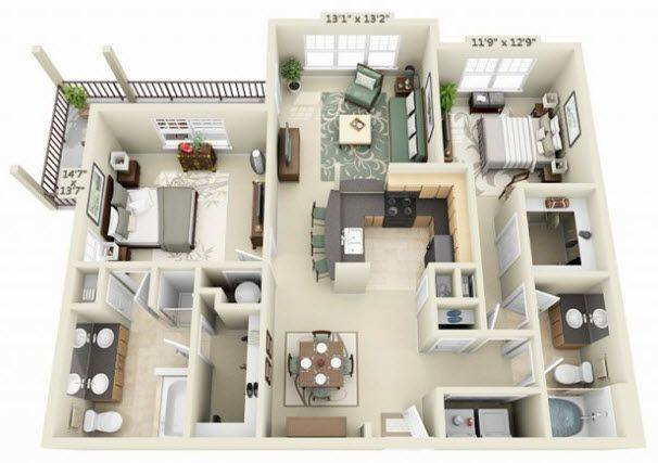A 3D rendering of the Sonoma floor plan