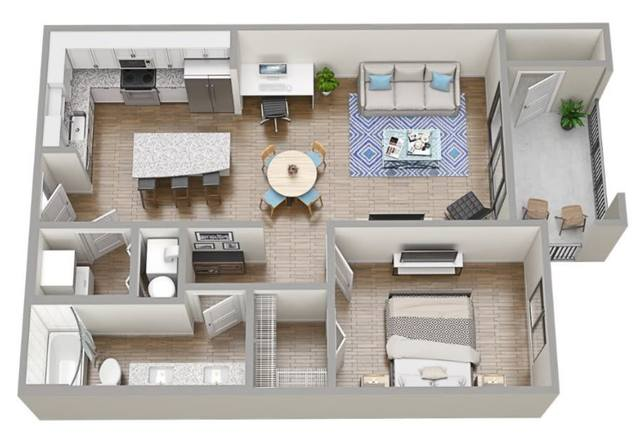 A 3D rendering of the A1 floor plan