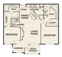 A 2D drawing of the Crosby Renovated floor plan