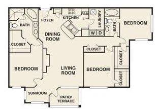 A 2D drawing of the Shorecrest floor plan