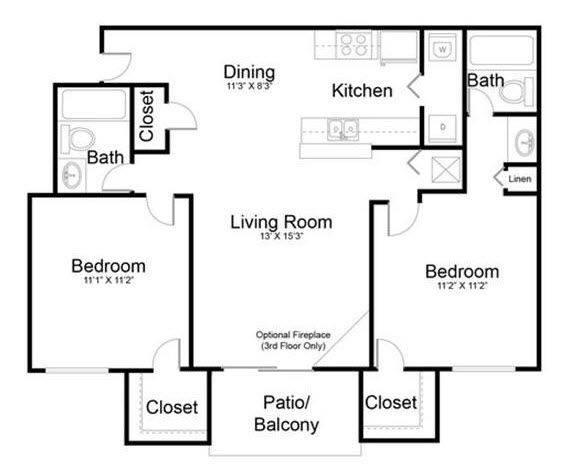 A 2D drawing of the Tranquil - Renovated floor plan