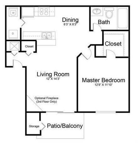 A 2D drawing of the Sanctuary - Renovated floor plan