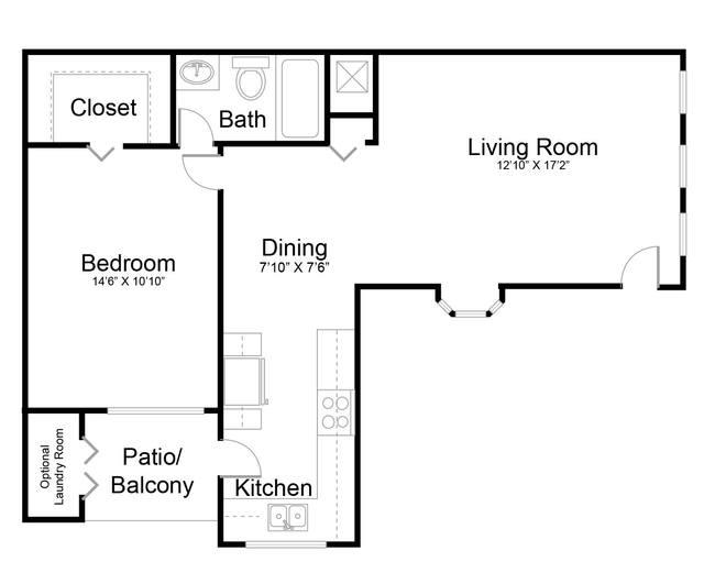 A 2D drawing of the Refresh - Renovated floor plan